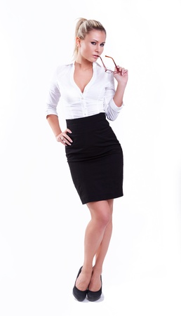 black secretary: young sexy businesswoman on white background  Stock Photo