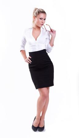 sexy secretary: young sexy businesswoman on white background  Stock Photo