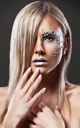 Portrait of beautiful blond woman with perfect makeup  Stock Photo