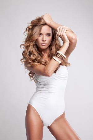 Portrait of beautiful blonde woman  photo