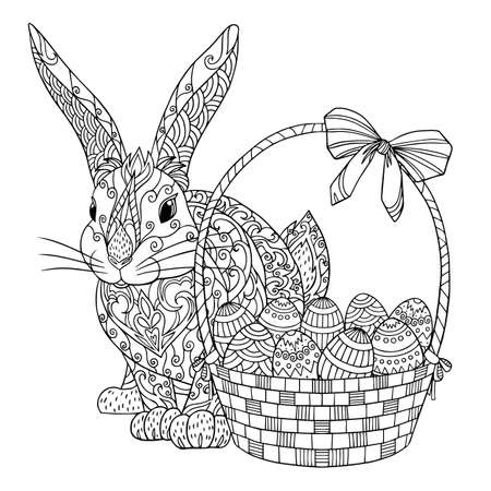 Rabbit with basket and easter eggs coloring page. Vector illustration of spring bunny. Coloring book for adults with doodle elements. Vetores