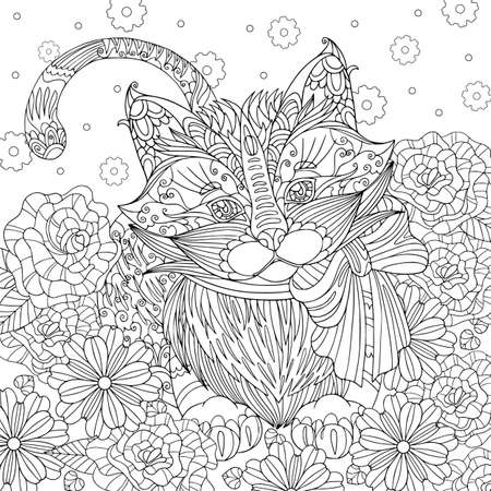 Coloring page kitten with bow in flowers field. Spring vector illustration with cute fluffy cat. Outline hand drawn art with doodle and patterns for coloring book for adult. Vetores
