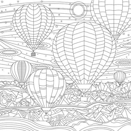 Hot air balloon festival. Beautiful jurney flight with mountains landscape. Coloring book page for adult with doodle elements. Isolated vector.