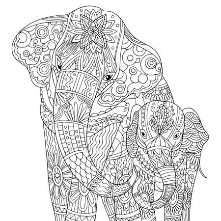 Elephant baby with his mom. Wildlife coloring book page for adult. Vector outline cartoon illustration with doodle elements for meditation for adult.