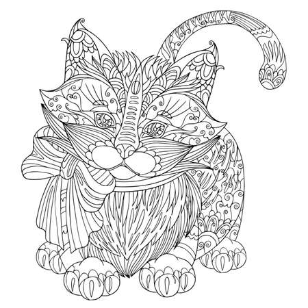 Coloring book page funny fluffy kitten with bow. Vector cat illustration with doodle elements for meditation and anti stress for adult. Vetores