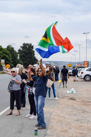 JOHANNESBURG, SOUTH AFRICA - APRIL 7, 2017: South African citizens protesting the presidency of South African President Jacob Zuma