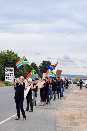 zuma: JOHANNESBURG, SOUTH AFRICA - APRIL 7, 2017: South African citizens protesting the presidency of South African President Jacob Zuma