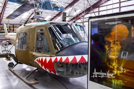 pima: Tucson, Arizona, USA - December 27, 2016: Details on the Iroquois helicopter, Pima Air and Space Museum, Arizona, USA