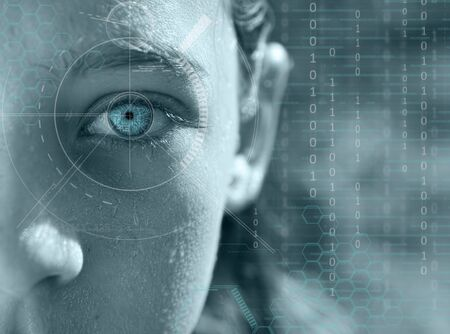 futuristic girl: close up scientific eye photo