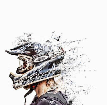 casco moto: casco de diseño gráfico