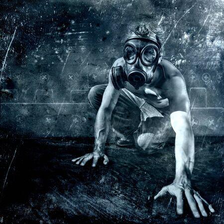 trippy: crawling man with gasmask