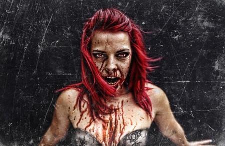 vampira sexy: Sexy pelirroja monstruo zombi