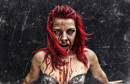 sexy halloween: Sexy red hair zombie  monster