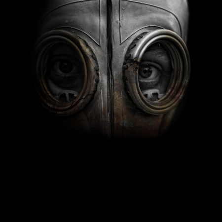 gasmasker: Gasmasker man Stockfoto