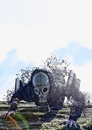 gasmask: crawling gasmask man