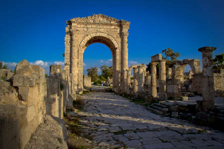 tyr: The Triumphal Arch in Tyre, Lebanon Stock Photo