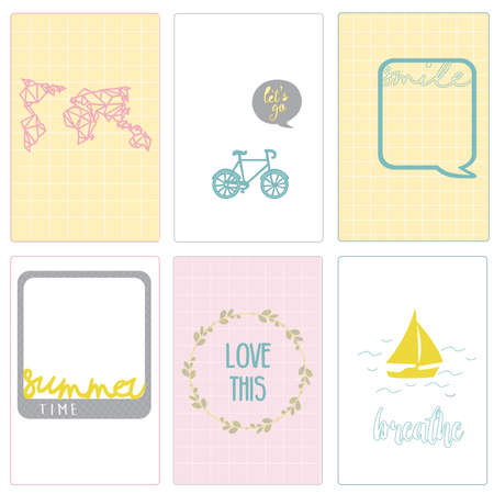 EPS. Flat vector, paper cards. Marketing, tourism, scrapbooking, project Life