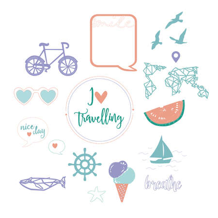 Travel collection. Digital vector illustration of colorful travel and summer symbols for sites design, posters, greeting cards
