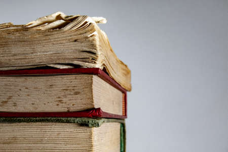 A stack of books with space on the right for text or logo