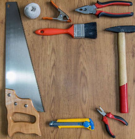 manual tools backround with space in the middle for text or logo Stock Photo