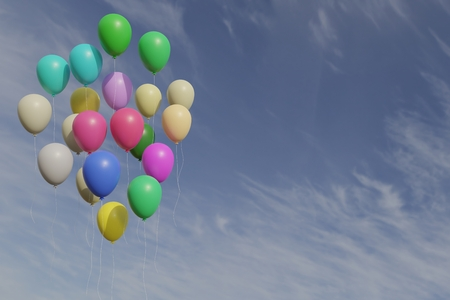 Bunch of colorfull balloons with blue sky 3d rendering