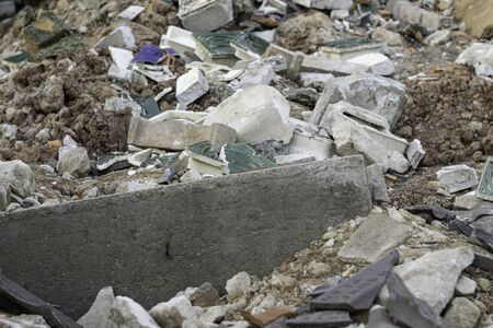 heaped up building rubble after a demolition