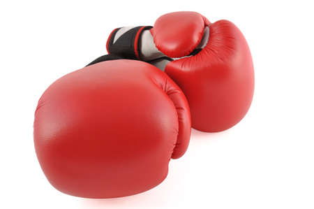 Two red boxing gloves in white background photo
