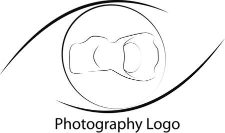 Photo Logo with camera and eye forms on black and white Vector