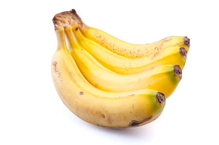 One group of Canary bananas on white background
