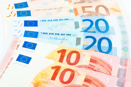 50 euro: 10 20 and 50 euro bills Stock Photo
