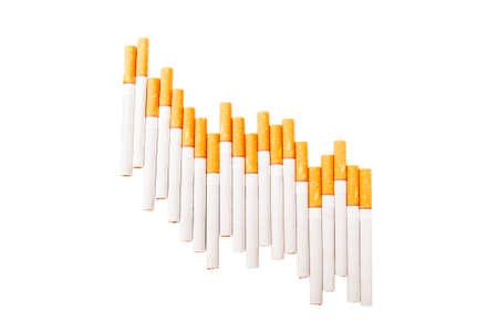 bearish: Cigars on white background forming a bearish chart Stock Photo