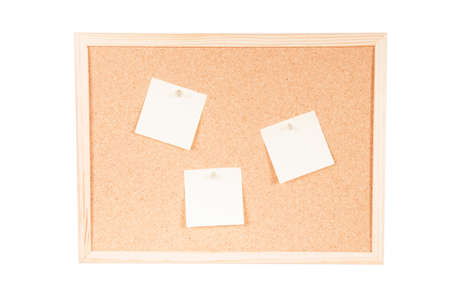 Corkboard with three empty posits and fixed on a white background
