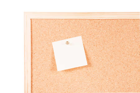 posit: Corkboard with one empty posit and fixed on a white background