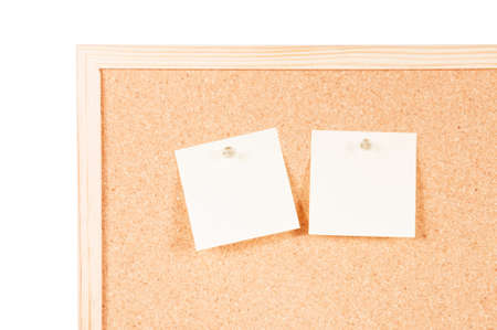 posits: Corkboard with two empty posits and fixed on a white background Stock Photo