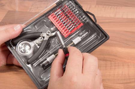 tool kit: Precision Tool Kit on a wooden desk Stock Photo
