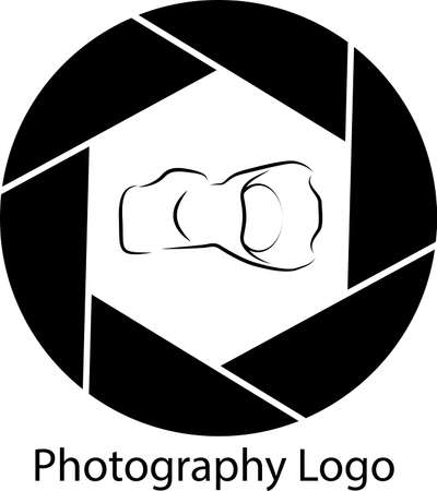 diaphragm: Logo of photography in the shape of a diaphragm and a camera inside Illustration