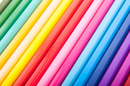color spectrum: Set of color pencil in a row forming the color spectrum