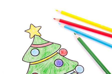Drawings Of A Christmas Tree And Snowman With Colored Pencil Stock