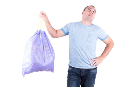 stinking: Man with a stinking garbage bag in hand on white background