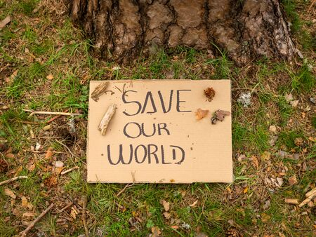 Cardboard banner with environmental message on the ground next to a tree in the forest. Save our world. Concept of sustainability.