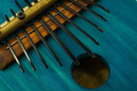 Close-up view of the keys on a kalimba. Traditional African instrument. Concept music. Reklamní fotografie