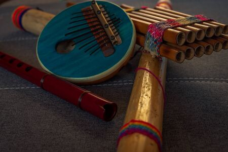 Close-up view of several Afro-Peruvian instruments. Traditional Peruvian music concept.