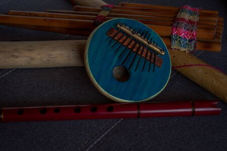 View of Afro-Peruvian instruments handmade in Peru. Concept of traditional Andean music. Reklamní fotografie