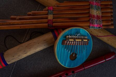 Top view of Afro-Peruvian instruments handmade in Peru. Concept of traditional Andean music.