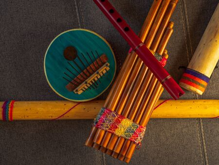 View from above of handmade instruments in Peru. Concept of traditional Andean music.