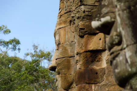 angkor thom: Face in the Bayon temple in Angkor Thom, Cambodia