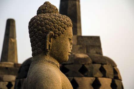 borobudur: Buddha statue at Borobudur Stock Photo