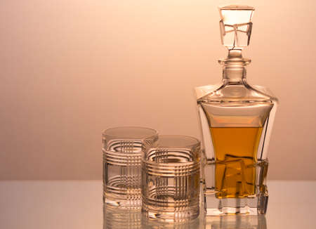 decanter: whiskey decanter with two glasses Stock Photo