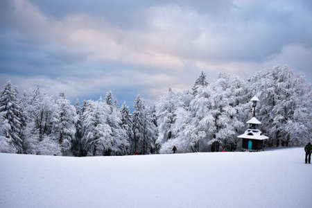 Beautiful winter landscape with wooden hut