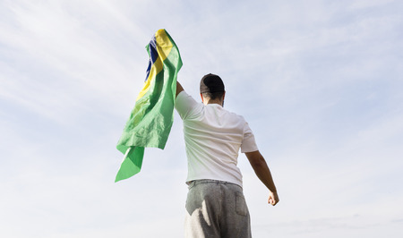 fan with brazilian flag Stock Photo